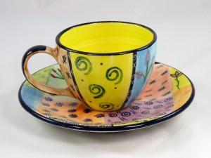 "Kaffeetasse ""Funky Africa"" - handgefertigte Keramik aus Südafrika"
